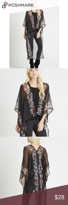 BCBGenerarion Floral Kimono Secret Garden Kimono in Black: Wear as a beach cover up or Upgrade your jeans-and-tee routine with this blooming beauty.  Open front. Short kimono sleeves. Sheer construction. Tiered hemline. Floral print detailing at center front, back, sleeves. BCBGeneration Sweaters Shrugs & Ponchos