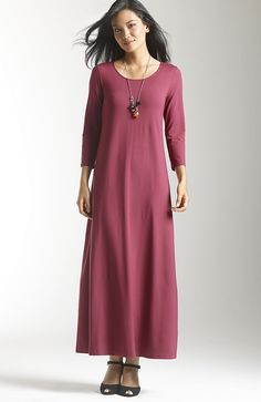 wearever 3/4-sleeve scoop-neck maxi dress