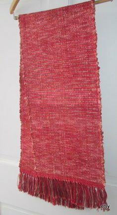 Red    table runner table rug  bureau scarf   by marthaweaves, $65.00