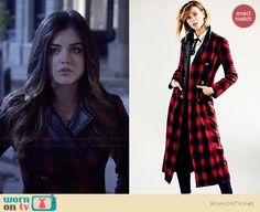 Aria's red plaid coat on Pretty Little Liars.  Outfit Details: http://wornontv.net/34609/ #PLL
