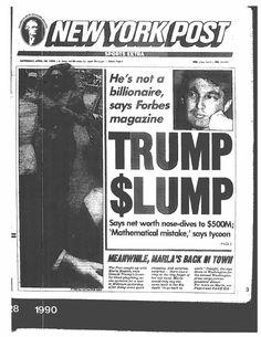 Trump Bankruptcies, Marla Maples, Manhattan Real Estate, Gossip Column, Trump Photo, Good Press, New York Daily News, The Daily Beast, Columnist