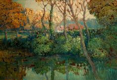 Václav Radimský, Landscape with the pond Impressionism, Pond, Cities, Houses, Paintings, Landscape, Garden, Art, Homes