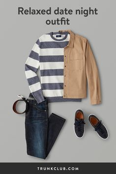 Whether it's a first date or a special night out with your significant other, these men's date night outfits are sure to impress. Read more about our go-to looks. Dinner Date Outfits, Date Outfit Casual, Night Outfits, Comfy Outfit, Fashion Night, Winter Fashion, Kinds Of Clothes, Long Sleeve Henley, Men Style Tips