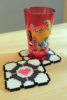 Perler fuse bead Companion Cube from  Portal Coasters by PkmnMasterTash/pkmnmastertash-creations/Natasha Lazaravich