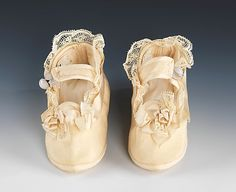 antique silk, linen and leather baby shoes, ca. 1870 ... photo courtesy the Metropolitian Museum of Art costume collection