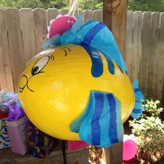 """Homemade """"flounder"""" piñata from """"Little Mermaid"""" for g-daughters birthday"""