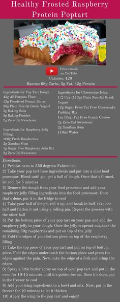 Healthy Frosted Raspberry Protein Poptart: 420 calories, of carbs, if fat, of protein. Protein Desserts, Protein Snacks, Protein Muffins, Protein Recipes, Ingredients For Cheesecake, Flexible Dieting Lifestyle, Macro Friendly Recipes, Macros Diet, Macro Meals