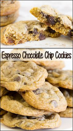 Espresso Chocolate Chip Cookies www. Delicious Cookie Recipes, Easy Cookie Recipes, Best Dessert Recipes, Brownie Recipes, Easy Desserts, Sweet Recipes, Yummy Cookies, Coffee Recipes, Yummy Treats