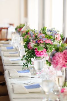 Kennedy Events and Design www.kennedyeventsanddesign.com  Marcella Treybig Photography marcellatreybigblog.com   Pink and blue wedding, estate table, long table, ivory pintuck linens, menu, peonies, centerpiece at PB Dye Golf Club in Frederick, MD.  Flowers by Petals by the Shore.