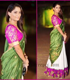Dancer Sandhya Raju in Shilpa reddy half saree at Gudi sambaralu event. Embroidery lehenga, designer blouse finished her look.