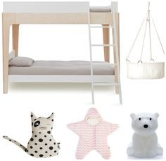 Accessoires für ein Kinderzimmer im nordischen & französischem Stil. Mit dem Hochbett von Oeuf Perch, der Leander-Wiege, OYOY Kissen Katze, Babybites Schlafsack und Mr Maria Nanuk.