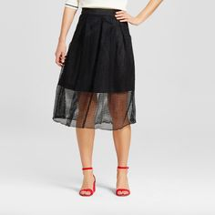 Women's Gingham Lace Birdcage Skirt - Who What Wear - Black 12