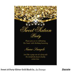 Sweet 16 Party Glitter Gold Black Invitation Sweet 16 Regal Royal Gold Black, Princess Sweet Sixteen 16th Birthday Party. Gold Sparkle Glitter and White Pearl Silver Tiara. Party Princess Party for a girl. Fabulous product for teen Girls. Invitation Formal. Customize to change or add details. Customize with your own details. All Designs are Copyrighted! Content and Designs © 2000-2016 Zizzago™ ® © (Trademark) and all their licensors. Zizzago created this design PLEASE NOTE all flat images…