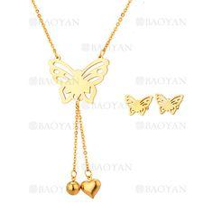 juego collar y aretes de mariposa dorado acero inoxidable -SSNEG543329