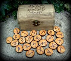 Blackthorn Runes with Chest  Divination Witchcraft by WytchenWood