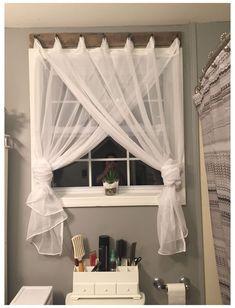 Bathroom Window Treatments, Bathroom Windows, Curtains For Bathroom Window, Rustic Window Treatments, Window Coverings, Wood Curtain, Curtain Rods, Curtain Ideas, Living Room Decor