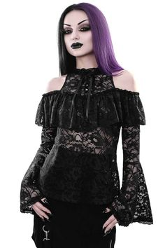 Greta Maiden Blouse [B] | KILLSTAR Romantic and delicate - the 'Greta' maiden blouse creates an instant spell of love, black magical nights and moons long ago. Luxe Victorian-style lace, high neckline with eyelet lace-up front, bardot ruffle feature, long bell sleeves and lace-trimmed hems - button back for easy on/off.
