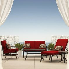 Threshold™ Conservatory Metal Patio Furniture Collection from Target - the perfect blue :) Metal Patio Furniture, Sectional Furniture, Outdoor Furniture Sets, Outdoor Decor, Outdoor Living, Outdoor Ideas, Conservatory Furniture, Cheap Conservatory, Home Decor Inspiration