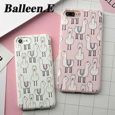 Balleen.E Funny Animal Alpaca Zebra Stripe Cactus Soft TPU Phone Cases For iPhone 7 6 6s Plus Back Case Cover Fundas Capa Coque