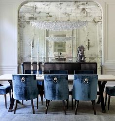 Home Design, Marvelous Home Design  Gorgeous Navy Blue Dining Room Design Ideas