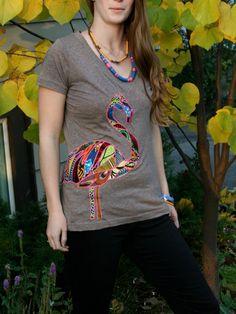 African Print Fabric Flamingo Tshirt