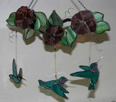 Hummingbirds & morning glory mobile