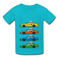 Four Ford Crown Vic taxi cab shirt for kids (in various colors)