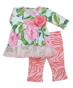 Loving this Haute Baby Pink & Green Floral Ruffle Tunic & Leggings - Infant on #zulily! #zulilyfinds