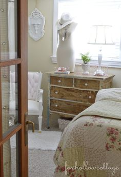 I really like this dresser look...I have one that I could do something like that to..!!! Shabby Cottage Bedroom Tour - Budget Decorating - #CottageStyle #Cottage #Bedroom