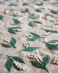 Lily of the valley embroidery   by yumiko higuchi