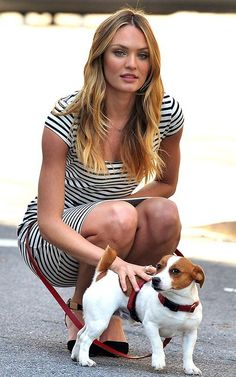 Candice Swanepoel (with one of her Jack Russell Terriers) behind the scenes of a Victoria's Secret photo shoot in New York City, April 25, 2013