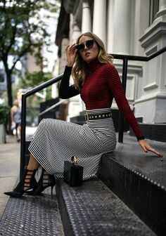 Stripes on Stripes // Red and black striped top, black and white midi skirt, leather belt, box crossbody bag, gold hoops, black booties {Sonia Rykiel, Mark Cross, Zara, fashion week}