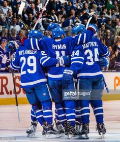 Zach Hyman of the Toronto Maple Leafs celebrates his goal with teammates William Nylander and Auston Matthews against the Washington Capitals during. Hockey Baby, Hockey Teams, Hockey Players, Ice Hockey, Hockey Stuff, Sports Teams, William Nylander, Mitch Marner, Maple Leafs Hockey