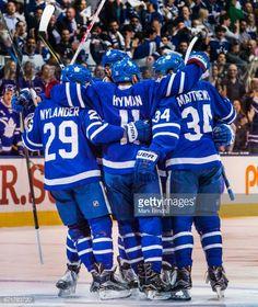 Zach Hyman of the Toronto Maple Leafs celebrates his goal with teammates William Nylander and Auston Matthews against the Washington Capitals during. Hockey Baby, Hockey Teams, Hockey Players, Ice Hockey, Hockey Stuff, Sports Teams, William Nylander, Mitch Marner, Maple Leafs Hockey