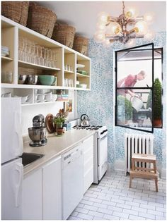open shelving, baskets, wallpaper, black windowpane