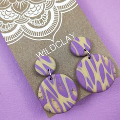 Wildclay Purple and Ecru Polymer Clay Stud Drop Earring Body Lotions, Paper Cover, Journal Notebook, Polymer Clay Earrings, Travelers Notebook, Cleaning Wipes, Handmade Items, Candles, Drop Earrings
