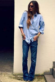 denim on denim...I am still so crazy about flared-leg jeans...