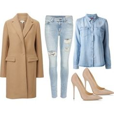 I would definitely wear this outfit! I can not wait until fall/winter #trenchcoat #beige #tan #denim #denimondemin #jeans #cutout #distressed #buttondown #heels #pumps #nude #fashion #style #swatch