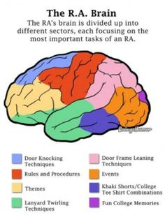 """Here is a fun diagram to use at training to show the RA's what they should get out of training (highlighting specific colors for certain sessions). note: """"Fun College  Memories"""" should be much larger and is a part of every training session (and every day after training ends)."""