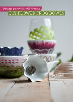 DIY: Flower Frog Bowls. They make cheap grocery store flowers look stunning!