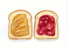 ORIGINAL Painting - Toast with Jam and Peanut Butter, Colorful Food Illustration (Fuits Watercolors Wall Art, Still Life)