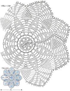Crochet Doily Diagram, Crochet Mandala Pattern, Freeform Crochet, Crochet Chart, Thread Crochet, Crochet Doilies, Crochet Stitches, Crochet Patterns, Crochet Basket Tutorial