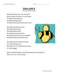 Second Grade Reading Comprehension Worksheet - Starts With B