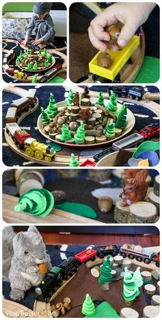 Perfect for fall, this squirrel train small world brings natural objects and classic craft materials into train play. (Fall Invitations to Play series) Autumn Activities, Activities For Kids, Preschool Ideas, Diy For Kids, Crafts For Kids, Sensory Boxes, Sensory Play, Tree Study, Imagination Tree