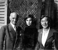Audrey Hepburn with Anne Frank's father, Otto Frank and his second wife Fritzi, Bürgenstock, Switzerland, 1957.