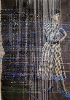 Artist Hinke Schreuders Alters 1950s Advertising and Fashion Photography with Hand Stitched Embroidery