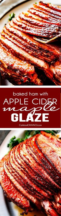 Christmas Dinner Idea: Baked Ham with Apple Cider Maple Glaze: beautifully caramelized, flavorful and deliciously moist baked ham takes minutes to prep and the glaze is out of this world! Perfect for Christmas, Easter and feeds a crowd! Weight Watcher Desserts, Thanksgiving Recipes, Holiday Recipes, Christmas Recipes, Recipes Dinner, Easter Recipes For A Crowd, Thanksgiving Baking, Christmas Dinners, Holiday Foods