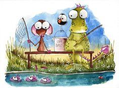 Original watercolor painting art illustration mouse dragon bird lake fishing #Folkartillustration
