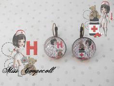 """Boucles d'oreille dormeuses vintage rondes """"miss infirmière"""" : Boucles d'oreille par miss-coopecoll"""
