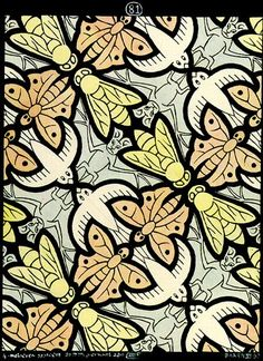 '4 motifs' (1950): Flying animal theme Tessellation Art by M. C. Escher  (I call this Birds, Bees, Butterflies & Bats )